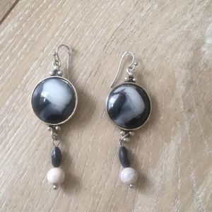 Lucky Brand Black White Marbleized Silver Earrings